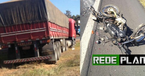 Acidente trágico entre moto e carreta, mata motociclista na BR-020 nesta tarde.