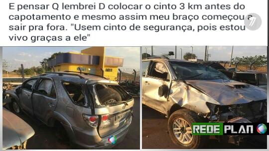 Cantor sertanejo de Goiás é salvo pelo cinto de segurança em capotamento de carro.