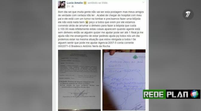 PEDIDO DE AJUDA: Família pede ajuda para realizar biopsia que custa R$ 2,100,00 | Rede Plan