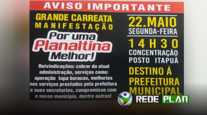 Manifestação na próxima segunda-feira (22) em Planaltina Goiás cobrará melhorias   RP
