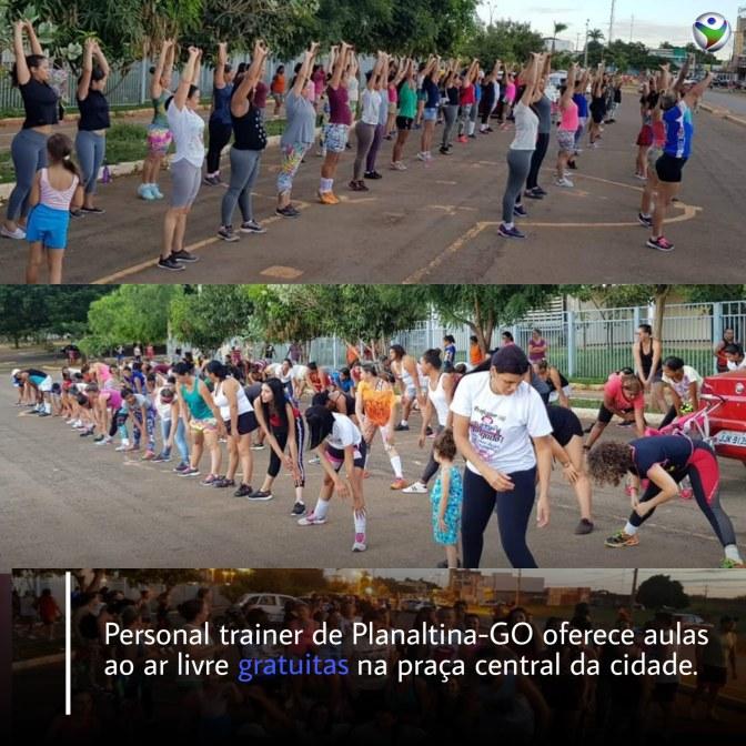 Personal trainer oferece aulas gratuitas ao ar livre na praça central de Planaltina Goiás | RP