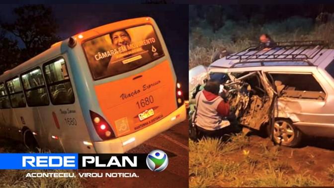 Grave acidente envolve ônibus de Planaltina-GO e um carro, na DF-128   RP