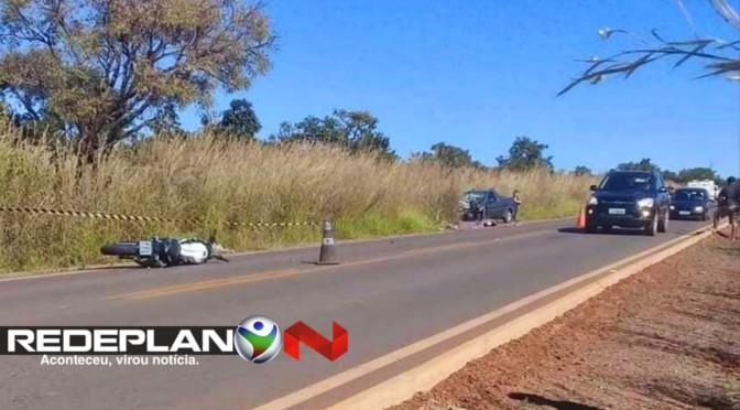 Duas pessoas morrem em acidente entre carro e moto na GO-430, em Planaltina-GO | RP